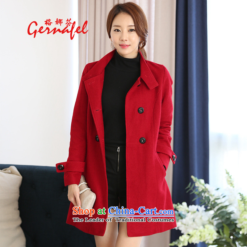 Indeed, the wool coat girl in gross? Long2015 new Korean autumn and winter Europe a student information?1617 red cloak jacketL