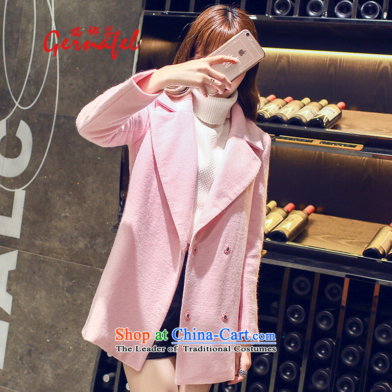 Indeed, the wool coat girl in gross? Long�15 new Korean autumn and winter Europe a student? The Coat�00 pink燣