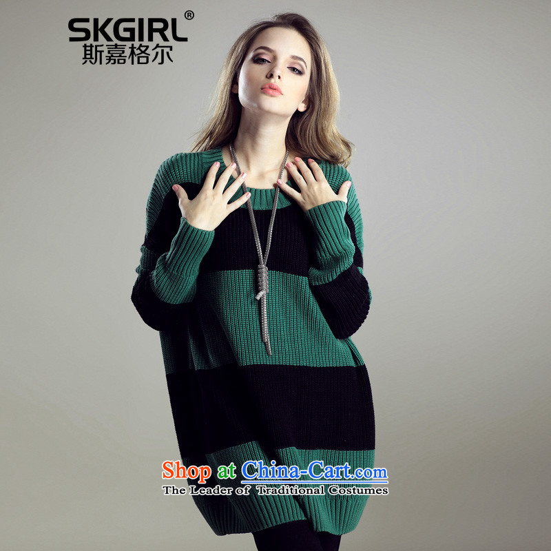 The Ka, for larger women 2015 Autumn and Winter Sweater jacket relaxd new graphics thin to thick MM intensify Knitted Shirt jacket female round-neck collar army green L