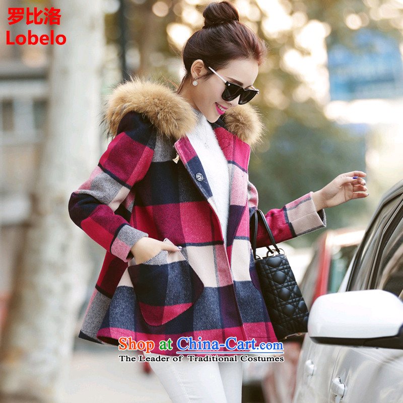 Mr Law than the 2015 winter clothing new Korean version of a female trend a jacket compartments thin hair? coats video female Red Haig L