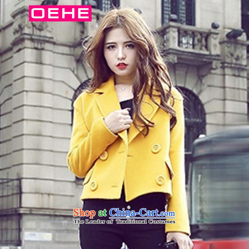 Oehe 2015 winter clothing new Korean short jacket, Sau San stylish girl video thin lapel long-sleeved yellow燤 Gross coat?