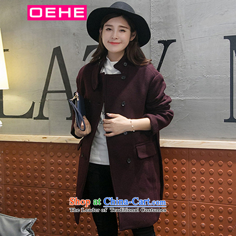 Oehe 2015 winter clothing new Korean version in Sau San long jacket, stylish girl video thin collar long-sleeved gross crimson red cloak?聽M
