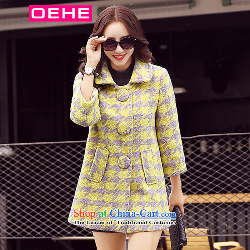 Oehe 2015 winter clothing new Korean female Stylish coat video Sau San lapel thin coat of long-sleeved gross yellow grid?聽M