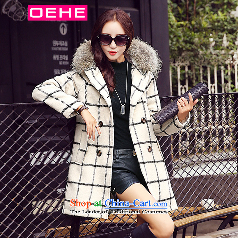 Oehe 2015 winter clothing new Korean version in Sau San long jacket, stylish girl video thin cap long-sleeved white coats of gross?聽XL