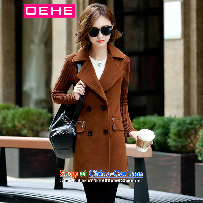 Oehe 2015 winter clothing new Korean version in Sau San long jacket, stylish girl video thin lapel long-sleeved brown overcoat聽M Gross?