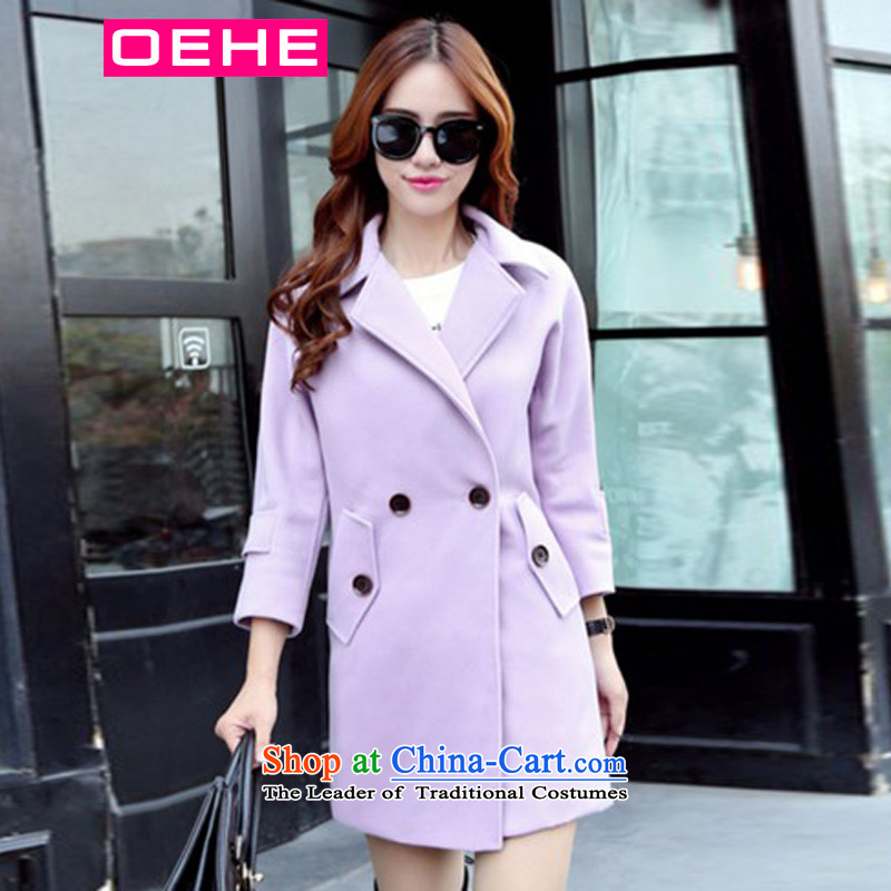 Oehe 2015 winter clothing new Korean version in Sau San long jacket, stylish girl video thin lapel long-sleeved gross? coats purple XL