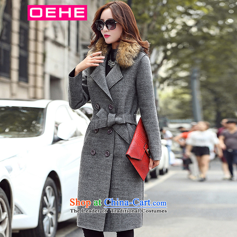 Oehe 2015 winter clothing new Korean version in Sau San long jacket, stylish girl video thin lapel long-sleeved gray coat? gross聽XL