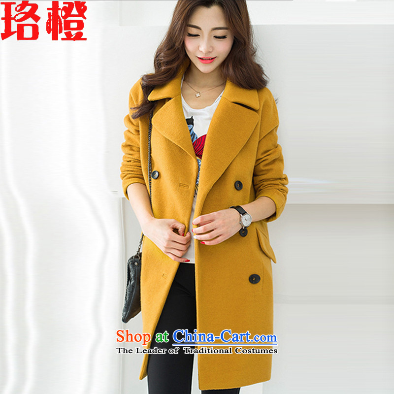 Judy?2015 autumn and winter new orange) long thick hair? female Korean jacket Sau San Mao? large coat a wool coat female yellow?L