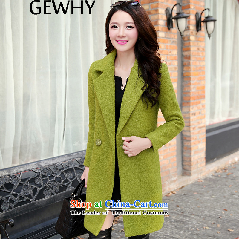 燱ool coat women GEWHY? 2015 autumn and winter new Korean version in the Sau San long double-long-sleeved green jacket. Gross? L