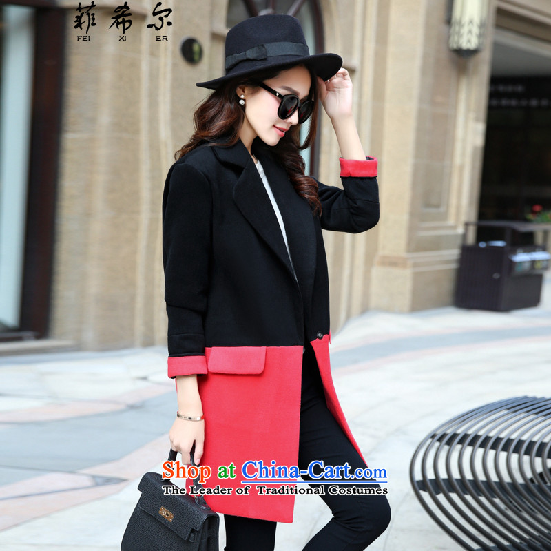 Fischier? 2015 Autumn female coat for women for winter new Korean stitching in Sau San long hair? 9837 female jacket watermelon red燲L130-145 catty