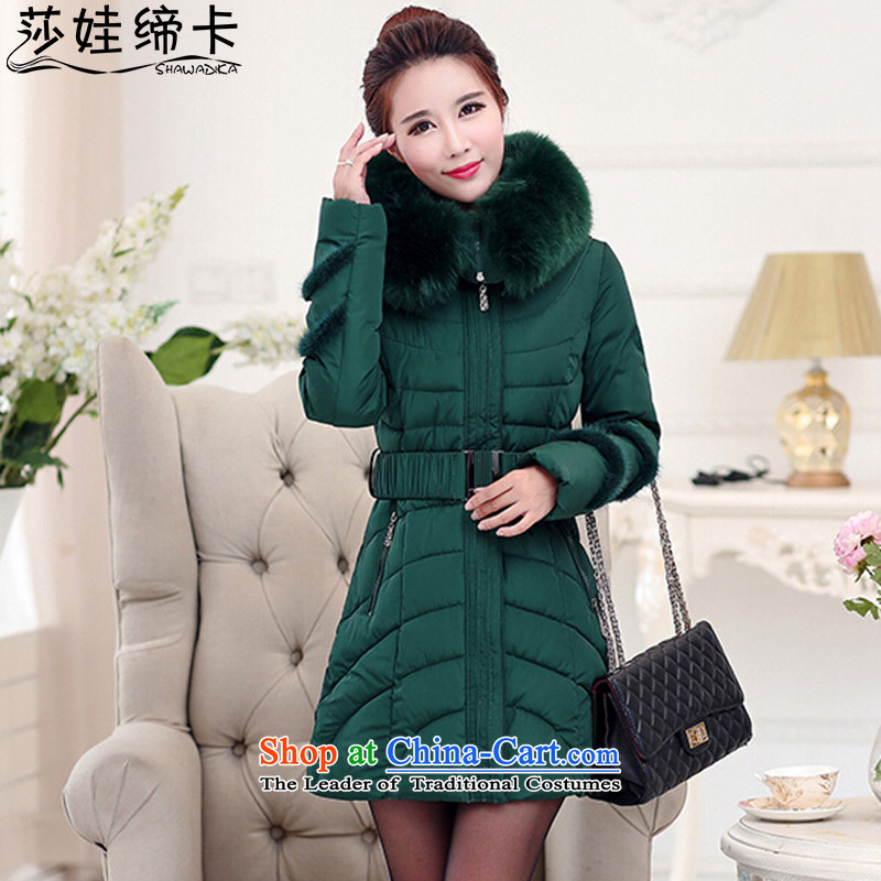 Elisabeth wa concluded card feather cotton coat to intensify the thick MM autumn and winter coats thick Mei Women 200 catties robe women extra cotton coat in long chubby woman with dark green燲XXL