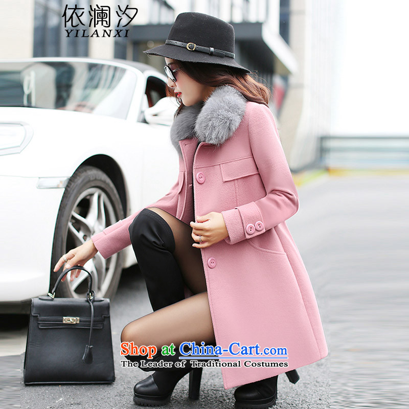 In accordance with the World Hsichih 2015 autumn and winter new Korean female decorated gross? jacket. Long jacket, a wool coat 1620 skin toner燣
