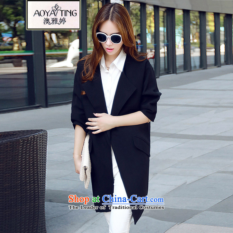 O Ya-ting to increase women's code 2015 autumn and winter new thick mm Korean loose video in thin long wind jacket flows among 9,588 3XL black 145-165 recommends that you Jin