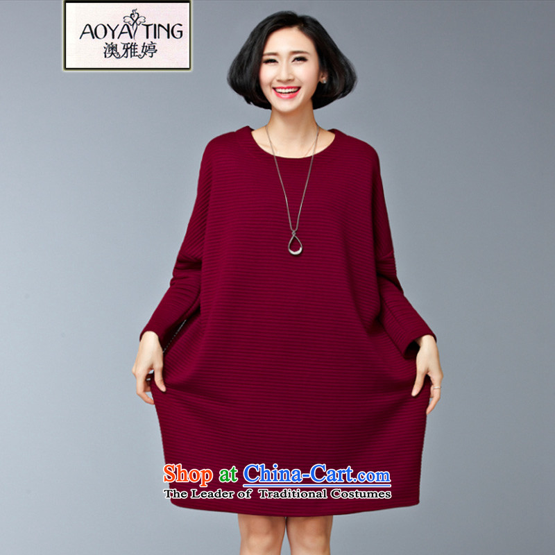 O Ya-ting to increase women's code 2015 autumn and winter new mm thick Korean video clip cotton shirts, forming the thin Western Wind relaxd stylish dresses 7,589 large wine red versions are Code 200 catties of recommends that you