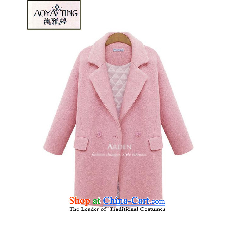 O Ya-ting to increase women's code 2015 autumn and winter new mm thick Korean version thin wool coat pure colors in this long coats female 103 Sub-ni pink�L 145-165 recommends that you Jin