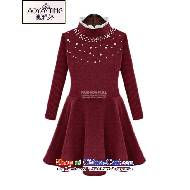 O Ya-ting to increase women's code 2015 autumn and winter new mm thick Korean version thin nail-ju a stitching Knitted cuffs dresses, forming the Netherlands5227 wine red4XL recommends that you 160-180 catty