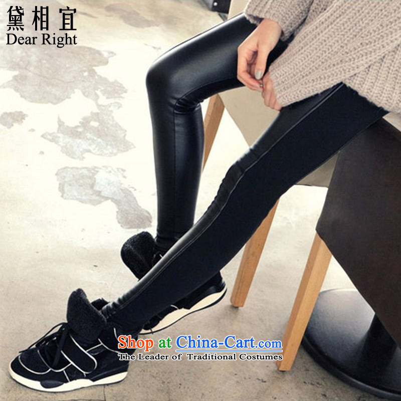 Doi affordable�15 autumn and winter new to intensify the Korean version of the PU stitching elastic leather pants female�0 catties sister MM thick solid thin long pants Graphics Black�L_ recommendations 180-200 catties_