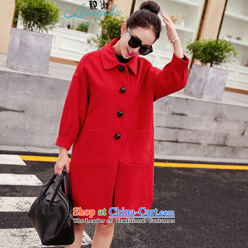 Mrs 2015 autumn and winter talks with the new Korean wild temperament lapel video in Sau San long thin stylish cuffs gentlewoman Gross Gross Jacket coat?? female red L