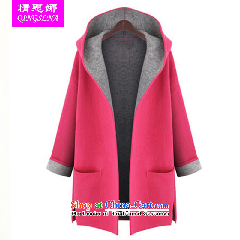 Of the 2015 autumn and winter Nora new candy color large code loose video thin cardigan western thick mm wind jacket?XXXXL red