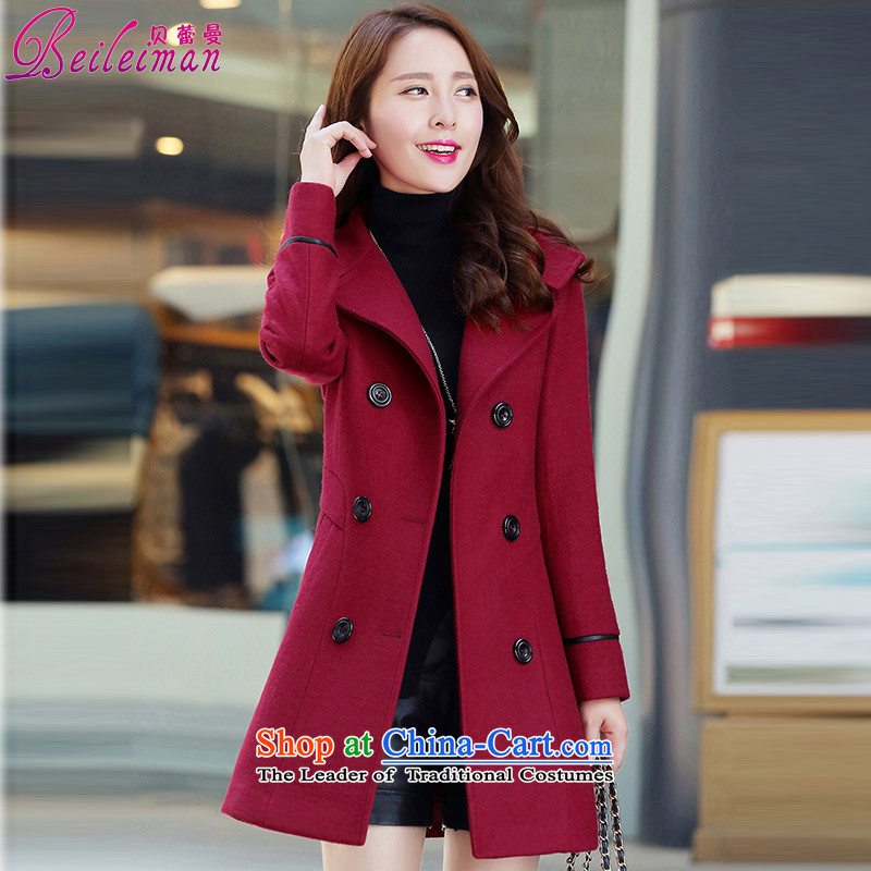 Pele Cayman 2015 winter coats gross new Korean women?   in the jacket long long-sleeved sweater large wine red?XL