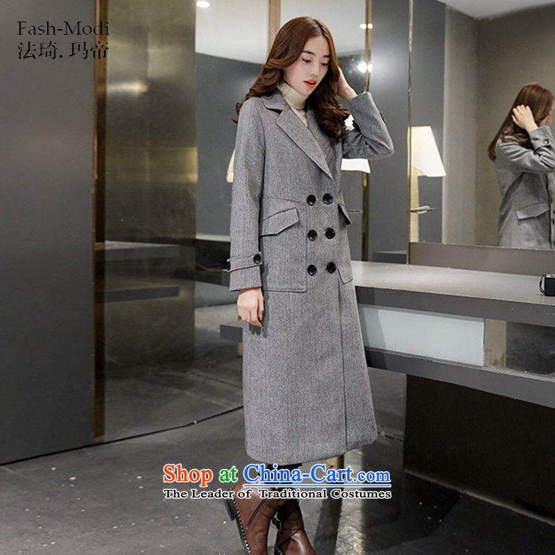 The law was in Dili Qi 2015 autumn and winter new leisure western lapel double-long video thin hair so Sau San coats female Korean a dark gray jacket L