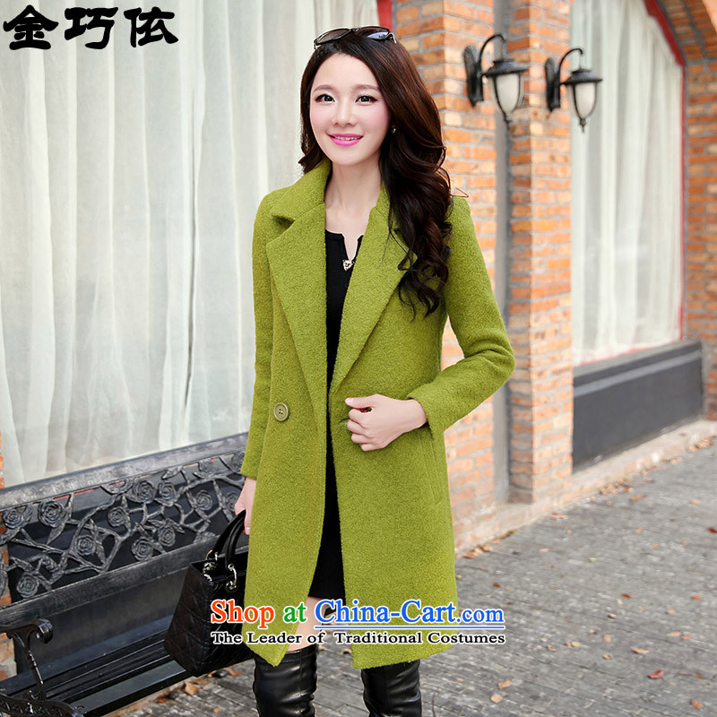 In accordance with the form 2015 jacket Kim autumn and winter new women in Korean long coats female HFYL1085 gross? Green燤