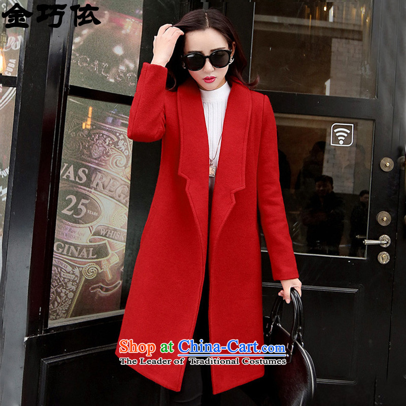 In accordance with the form 2015 gold Autumn and winter new graphics thin version korea long hair? female wool coat jacket female red HXY220?燤