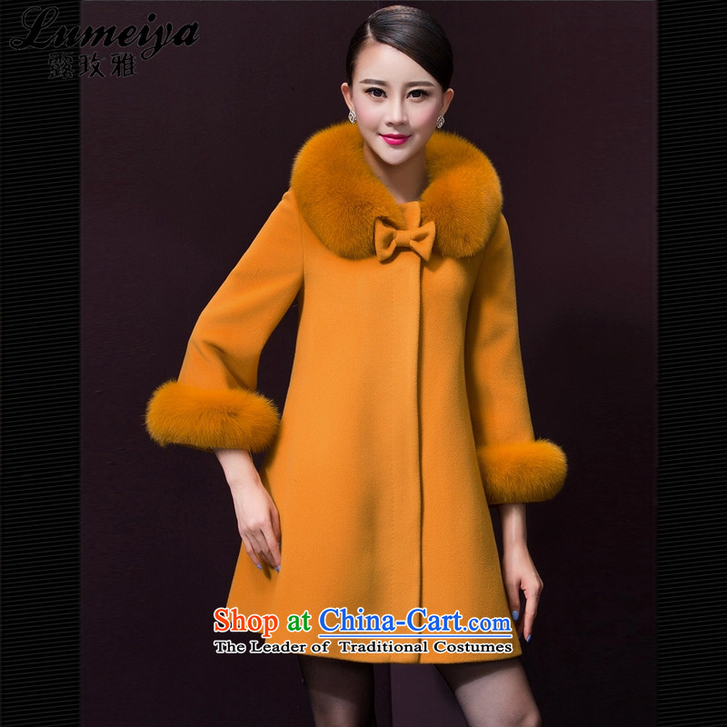 Receive new autumn 2015 Nga Korean temperament coats that long-Nagymaros collar coats jacket women gross? LMY109 yellow -A,燣