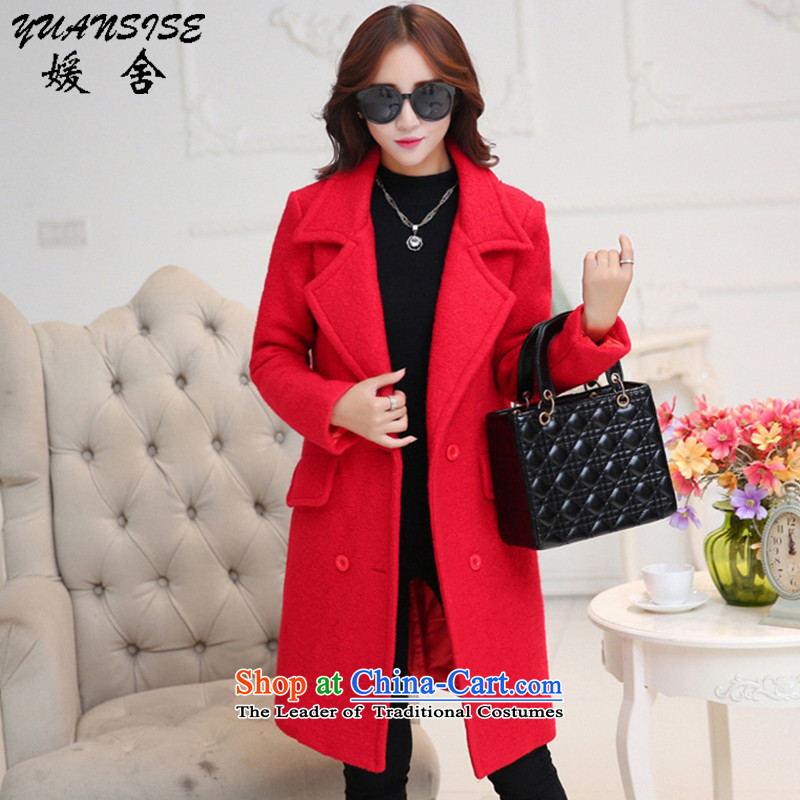Yuan Building 2015 autumn and winter coats the new Korean version of gross for long small incense wind single row clip hair girl in red cloak? Long燲L