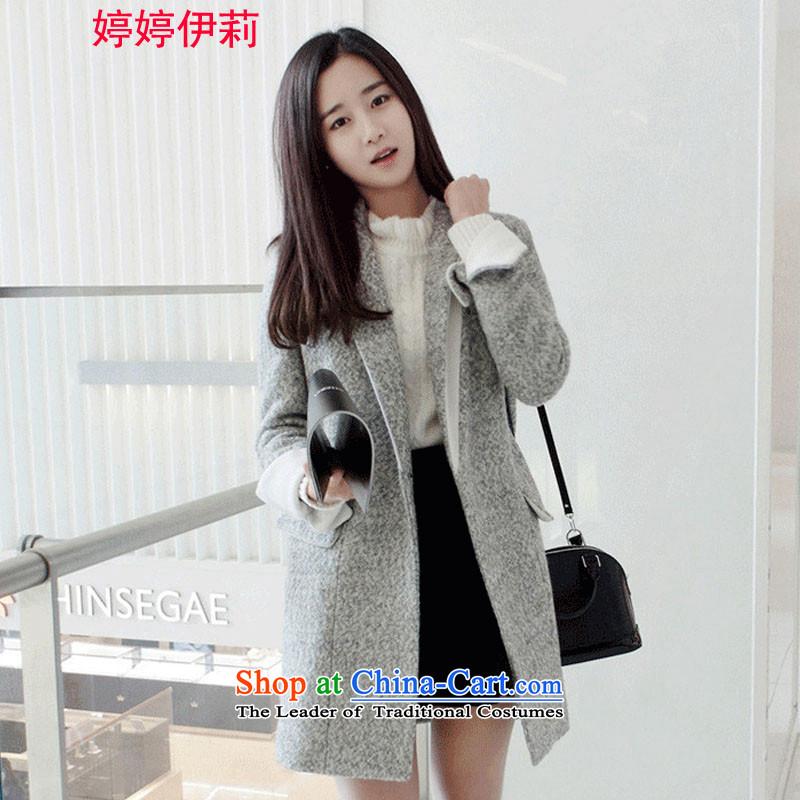 Ms Rebecca Pun, the Reine? 2015 Autumn female coat for women for winter new Korean version in long hair Sau San? jacket female 91 GrayS