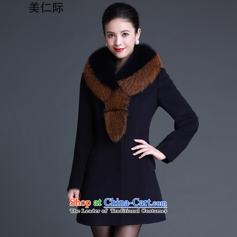 The United States, the�15 winter clothing new women's cashmere cloak large female Nagymaros Washable Wool a wool coat in long jacket, black Y082�L