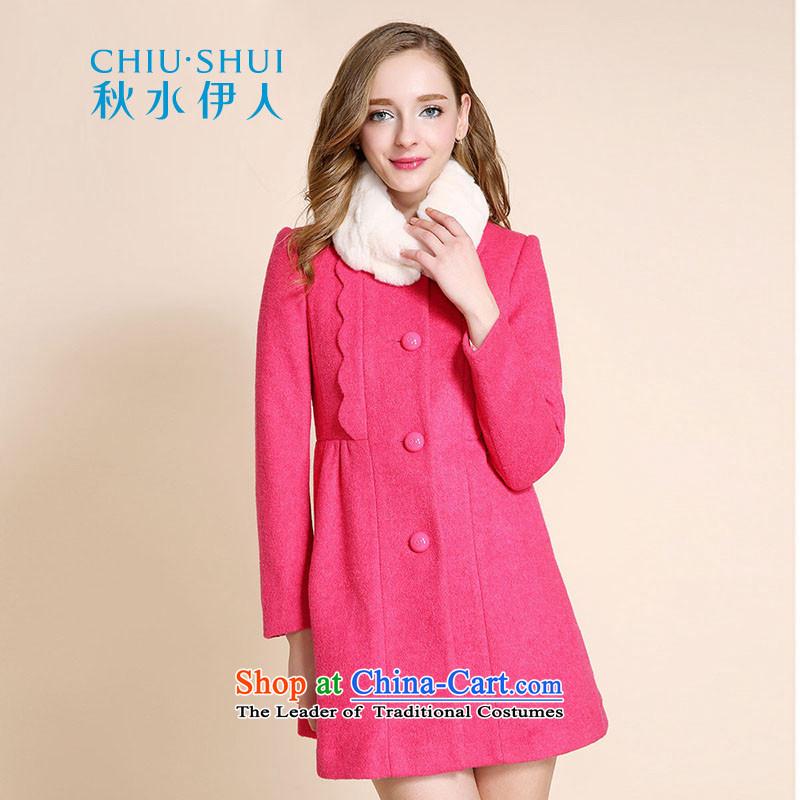 Chaplain who winter clothing new women's elegant sweet in Sau San Long Neck Knitted angora wool coat jacket? plum�5_88A_L