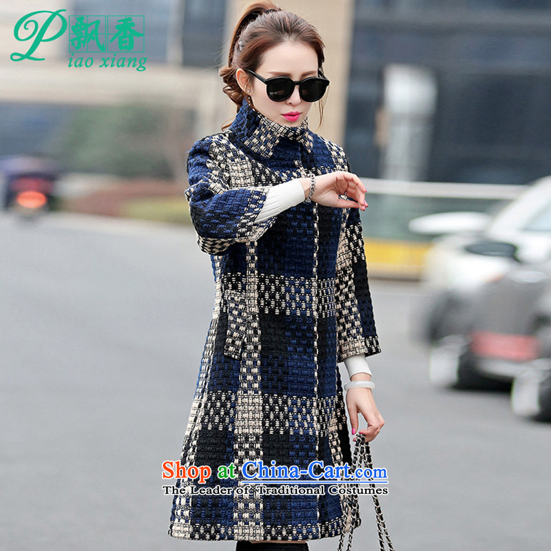 Scented Winter 2015 new stylish knitting weaving grid coarse wool terylene V1708 jacket picture color聽XL