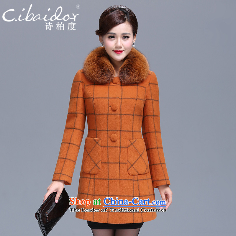 Ms Elsie Leung Pak-degrees women 2015 autumn and winter new product segments of the fox in Long Neck Jacket Gross Gross? coats orange燣