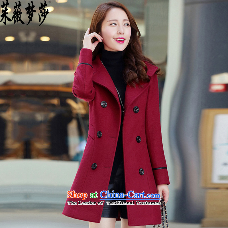 The Juilliard School Ms Audrey EU dream girl coats her hair? the new Korean long in Sau San double-gross wine red female jacket? L