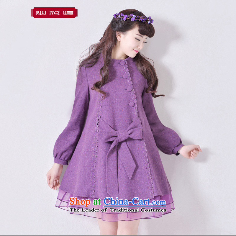 Fireworks Hot Winter 2015 new long-sleeved blouses and lanterns cuff solid color graphics thin hair? The first snow jacket purple燤 spot
