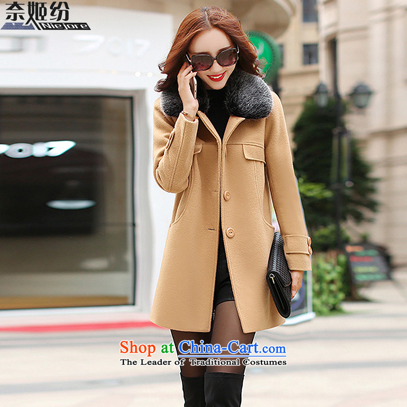 The Suu Kyi withdrawal of autumn and winter 2015 New Sau San wild long-sleeved gross for long coats female 1706 gross?- L