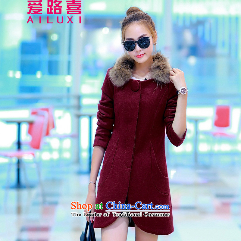 Love road-HI    2015 winter new Korean version in the thick of trendy thin dark deduction of Sau San video solid color round-neck collar plus Maomao Jacket coat? wine red XXL
