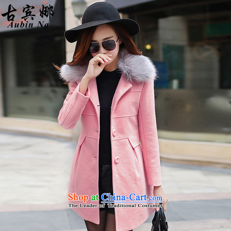 Gubin The 2015 autumn and winter new Korean version of Sau San video thin long-sleeved jacket girl in gross? Long Tk 8,368 leather toner L