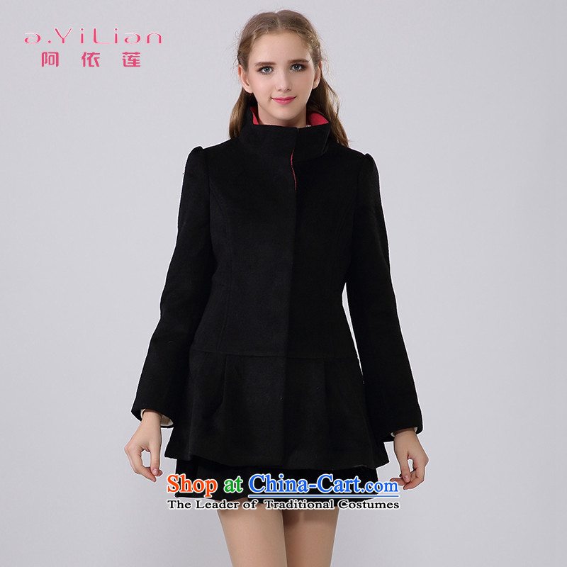 A yi wu 2015 autumn and winter new pure color wild stylish collar elegance. long wool coat jacket female CA44197242? black S