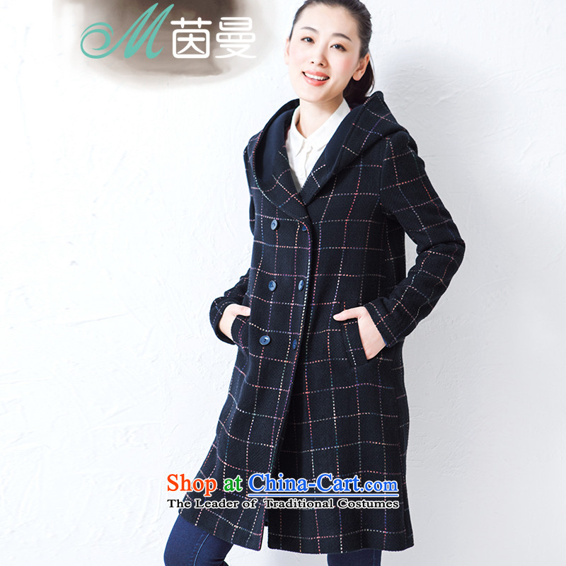 Athena Chu Cayman�15 winter clothing new grid with cap long coats_? wild jacket -8543210161?- Deep Blue燤