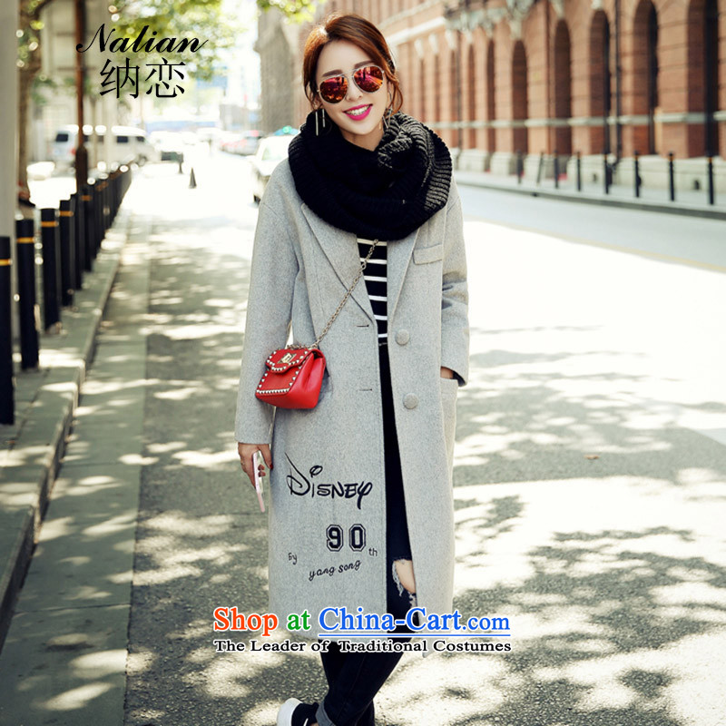 The�   2015 autumn and winter love? In gross long dog pattern letters? jacket female gray hair燬