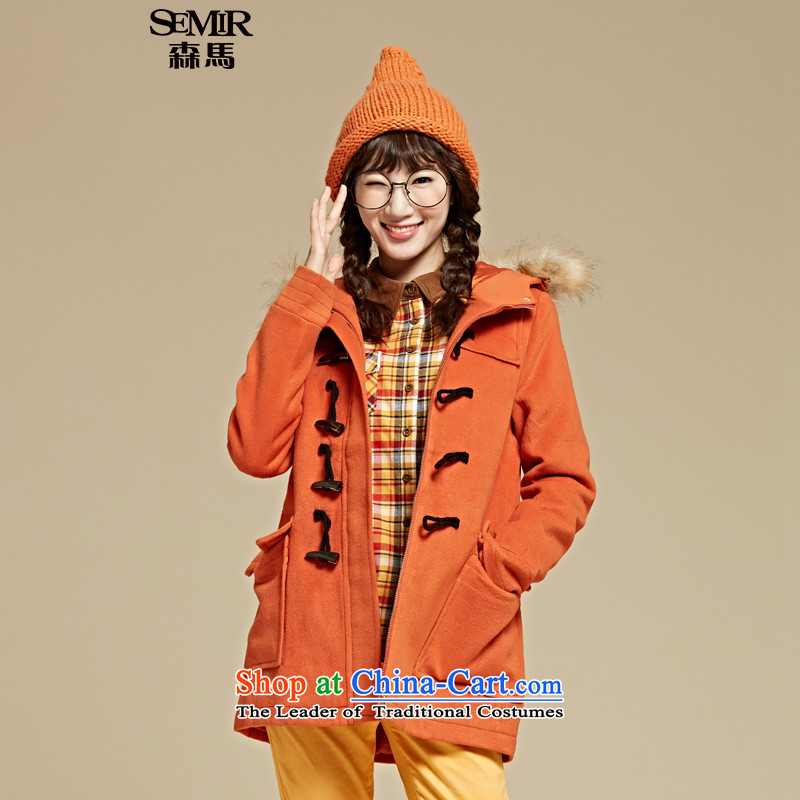 Sum horsehair jackets for聽winter 2015 Ms. new cap over the medium to longer term, solid color and a wool coat Korean Yang orange 3660 L