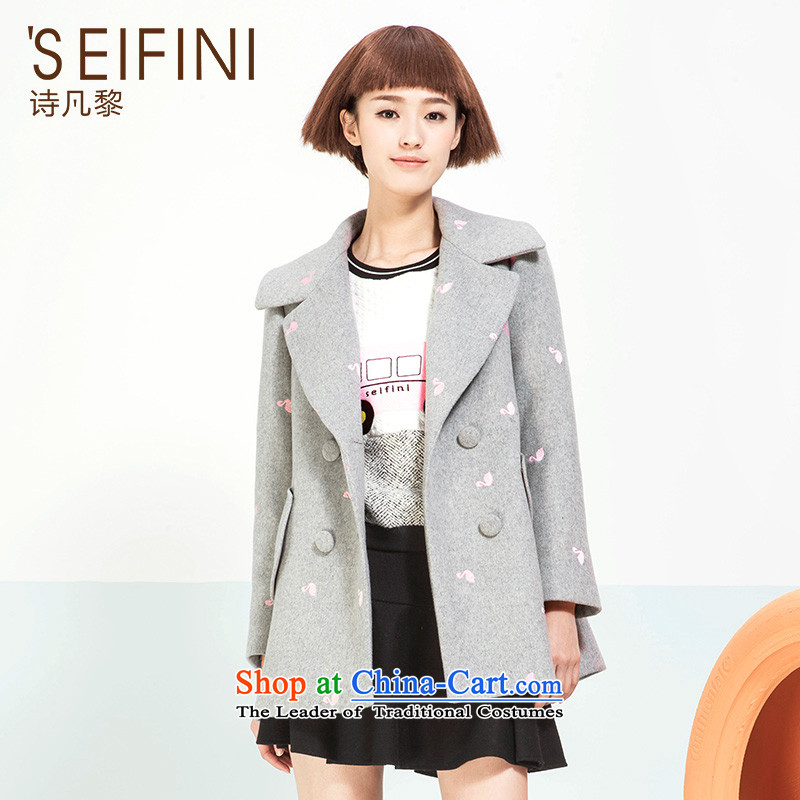 Poetry where Lai for winter 2015 new Korean lapel jacket coat of gross?? Long 6591017830 girl S Light Gray
