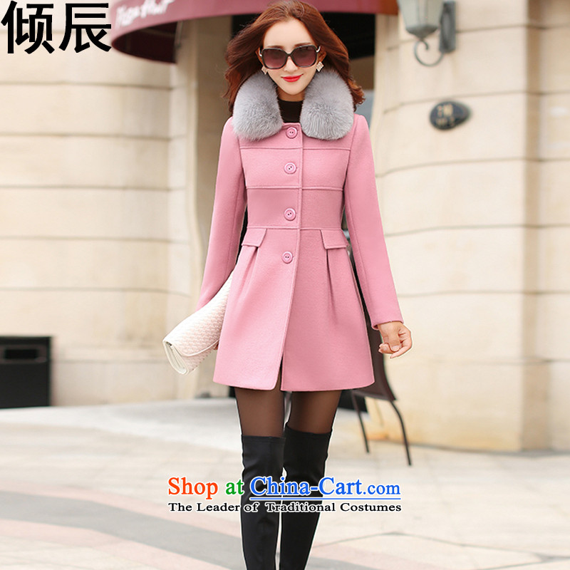 The Dumping e 2015 Fall_Winter Collections new Korean in thick long Sau San Mao a wool coat female聽692聽Leather toner聽M