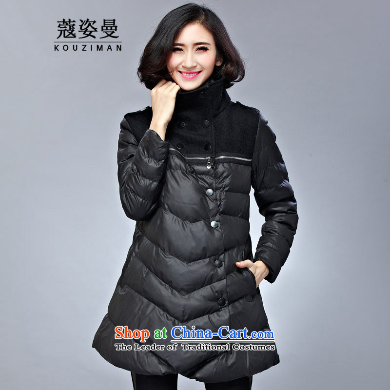 Gigi Lai King Cayman Code Coe winter coat winter thick mm female 200 catties thick sister in Europe and the reinforcement of the Sau San long cotton coat cotton jacket3XL black