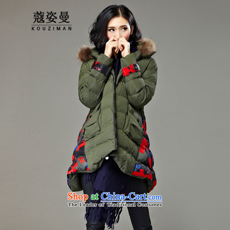 Gigi Lai King Cayman Code Coe thick Person in 2015 autumn and winter Fat MM to increase the number of female jackets聽200 catties thick new thick cotton sister army green聽 XL