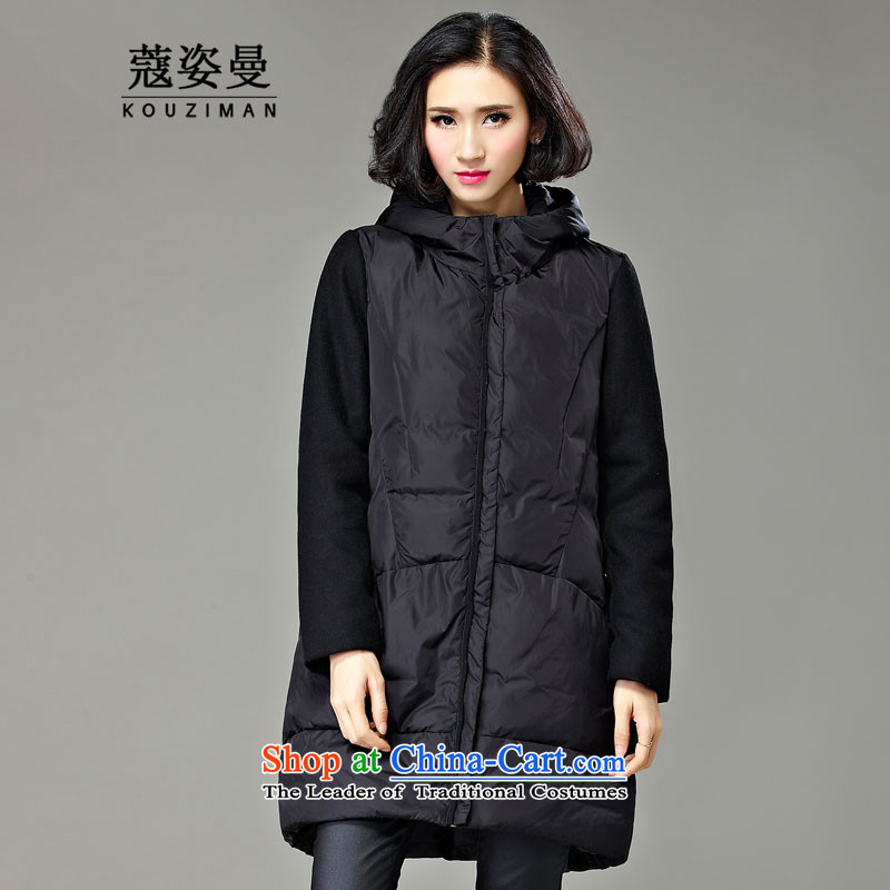 Gigi Lai King Cayman Code Coe cotton jacket for winter 2015 new products in the medium to long term, 200 catties a robe jacket thick person field sister mm thick cotton thin woman Graphics Black _pre-sale 5 day shipping_ 4XL
