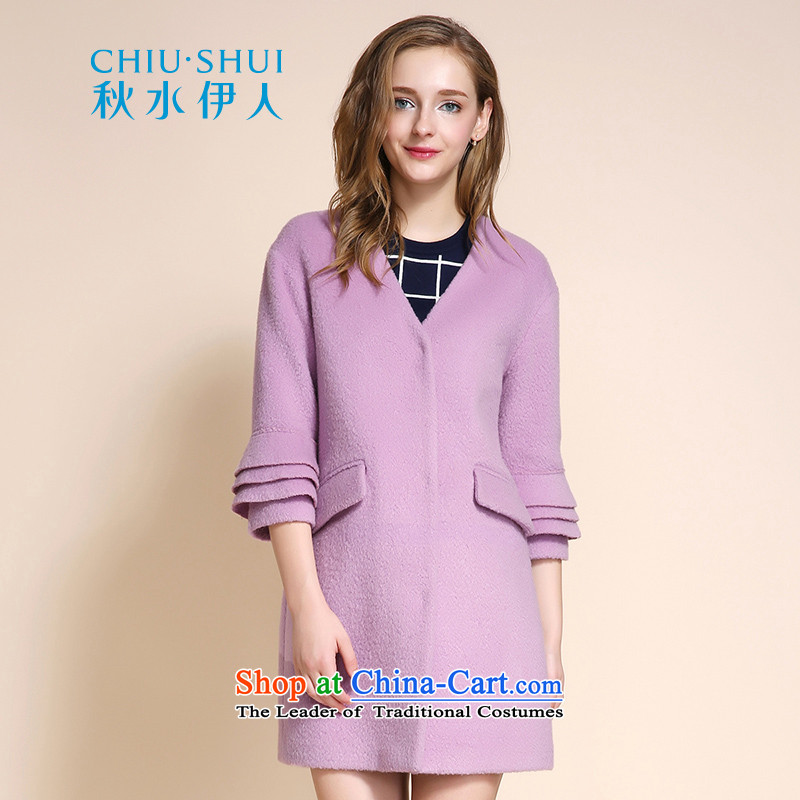 Chaplain who 2015 winter clothing new women's stylish Sweet temperament and flower bud cuff wool coat with a light purple jackets? 155_80A_S
