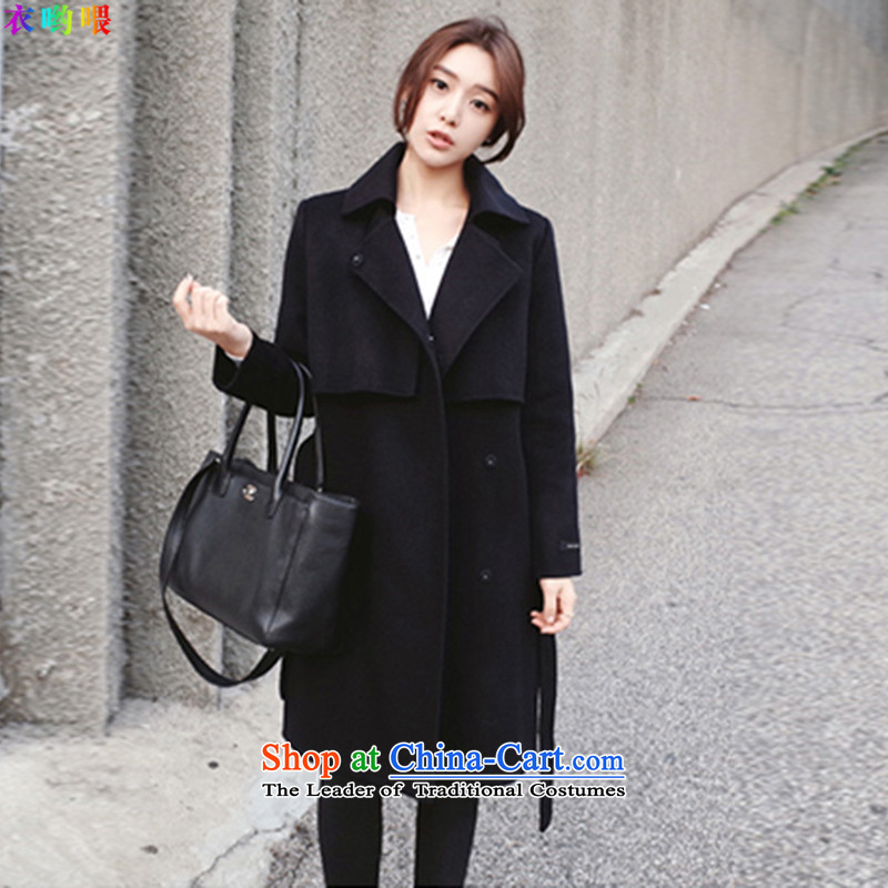 Yi God 2015) Video in temperament Sau San thin long foutune tether a wool coat #8701 black L